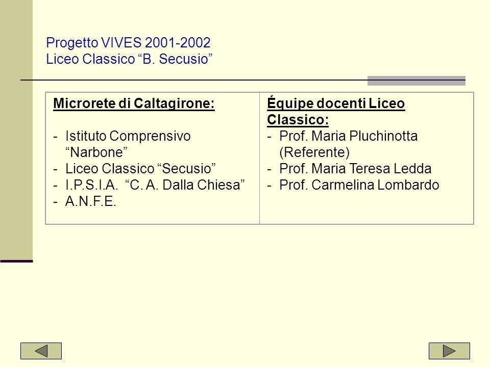 Progetto VIVES 2001-2002 Liceo Classico B. Secusio