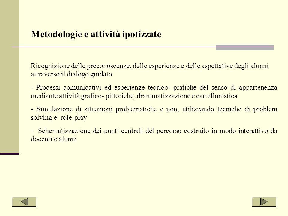Metodologie e attività ipotizzate