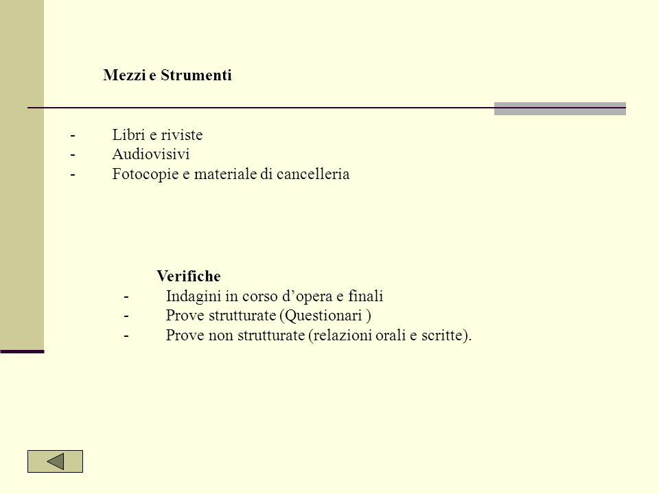 Mezzi e Strumenti - Libri e riviste. - Audiovisivi. - Fotocopie e materiale di cancelleria.