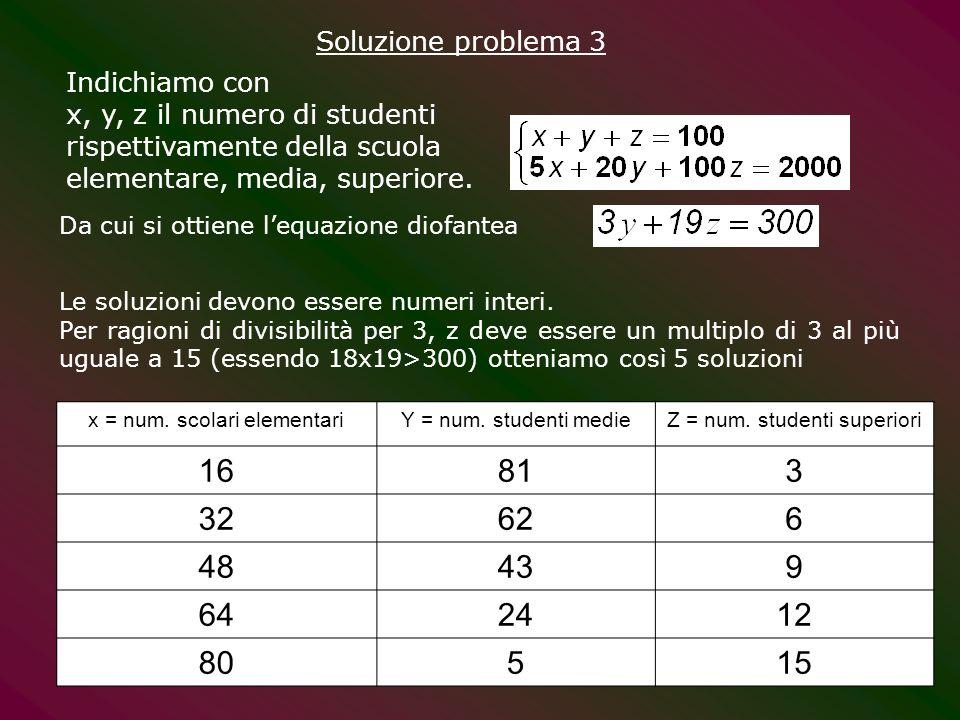 Soluzione problema 3 Indichiamo con. x, y, z il numero di studenti rispettivamente della scuola elementare, media, superiore.