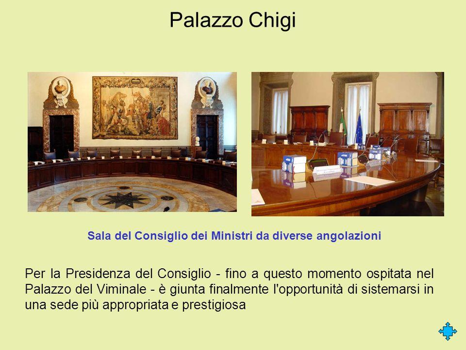 Sala del Consiglio dei Ministri da diverse angolazioni