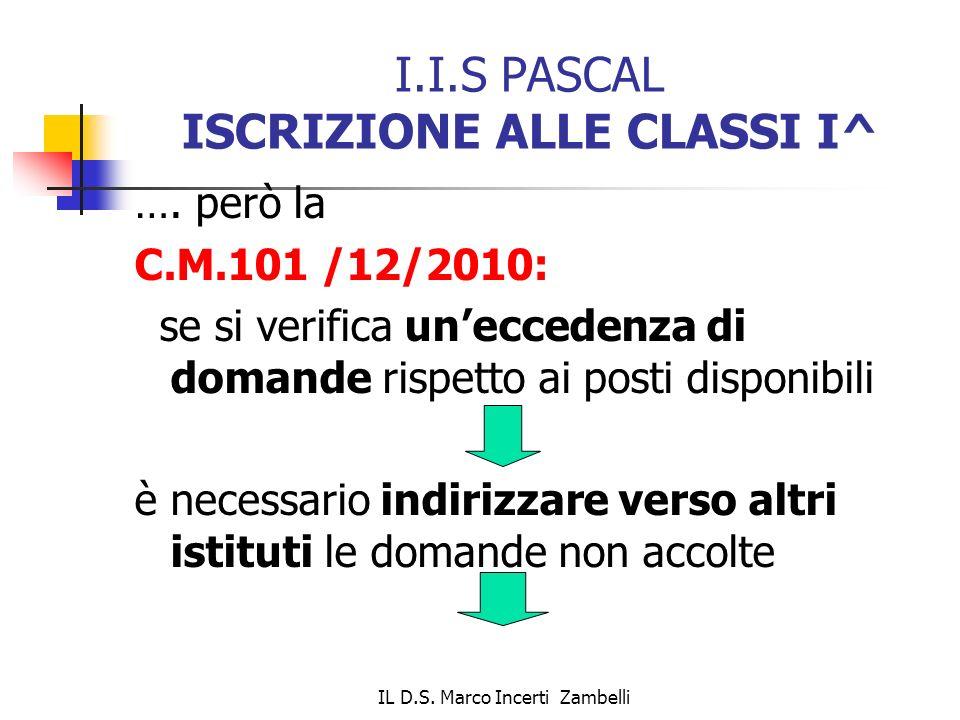 I.I.S PASCAL ISCRIZIONE ALLE CLASSI I^