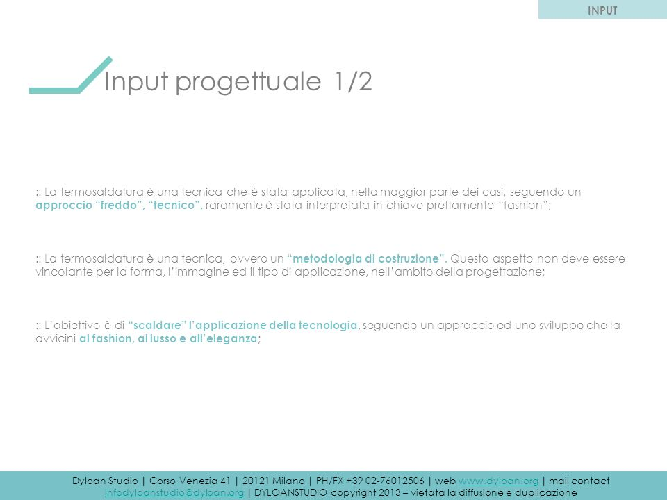 Input progettuale 1/2 INPUT