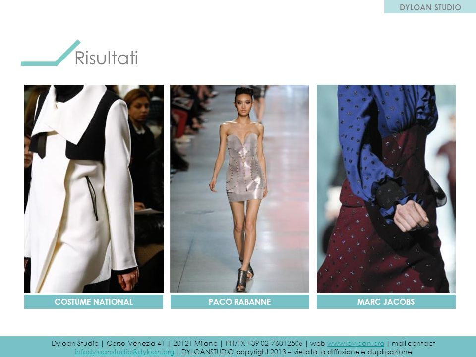 Risultati DYLOAN STUDIO COSTUME NATIONAL PACO RABANNE MARC JACOBS