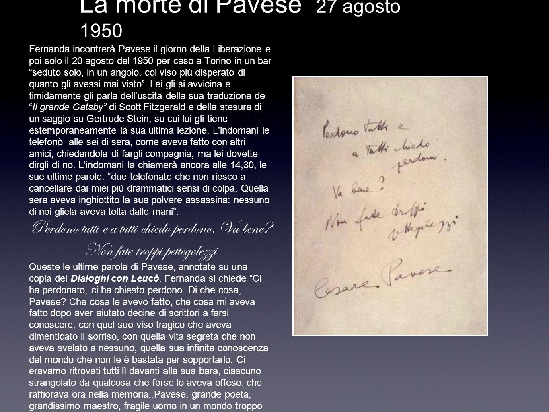 La morte di Pavese 27 agosto 1950