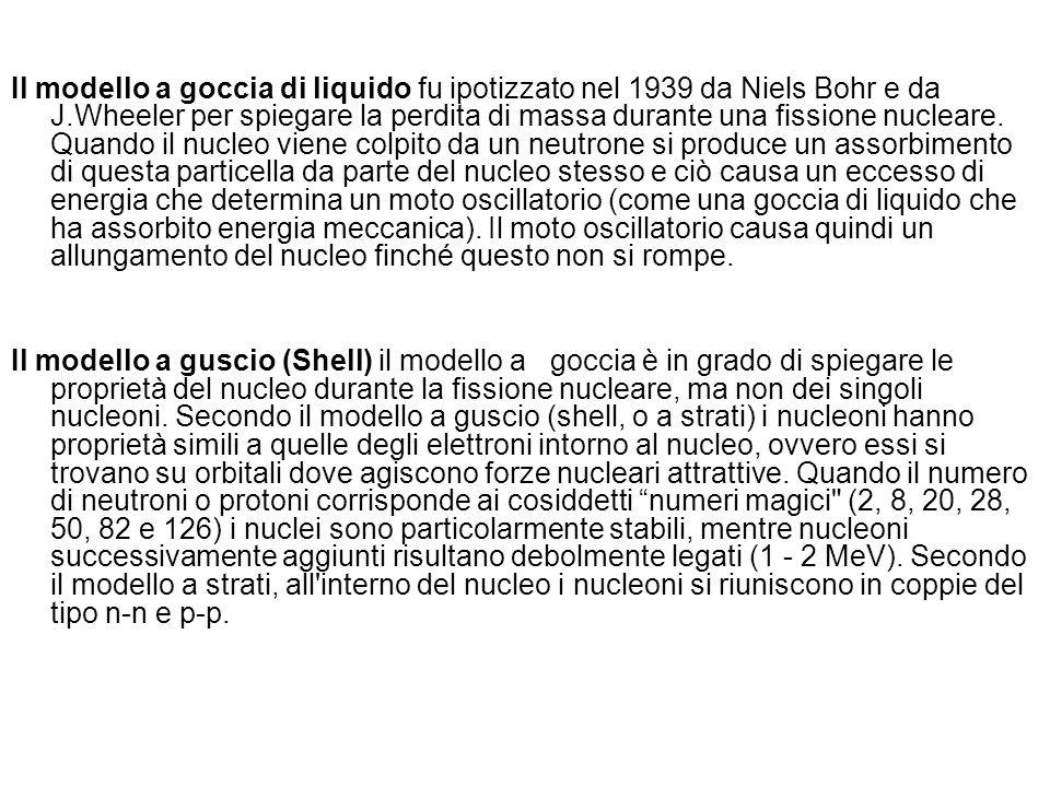 Il modello a goccia di liquido fu ipotizzato nel 1939 da Niels Bohr e da J.Wheeler per spiegare la perdita di massa durante una fissione nucleare. Quando il nucleo viene colpito da un neutrone si produce un assorbimento di questa particella da parte del nucleo stesso e ciò causa un eccesso di energia che determina un moto oscillatorio (come una goccia di liquido che ha assorbito energia meccanica). Il moto oscillatorio causa quindi un allungamento del nucleo finché questo non si rompe.