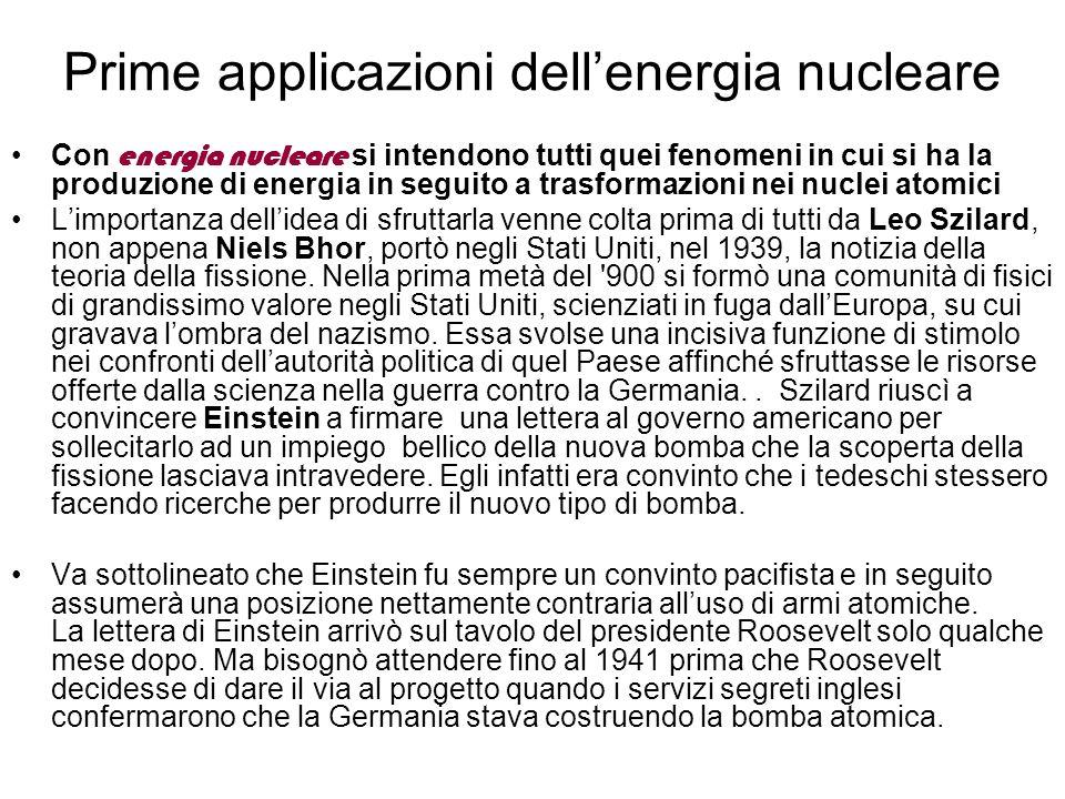 Prime applicazioni dell'energia nucleare