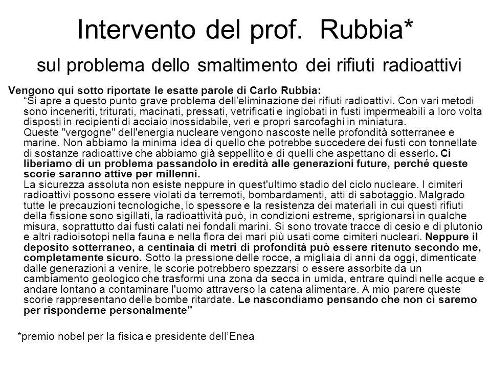 Intervento del prof. Rubbia