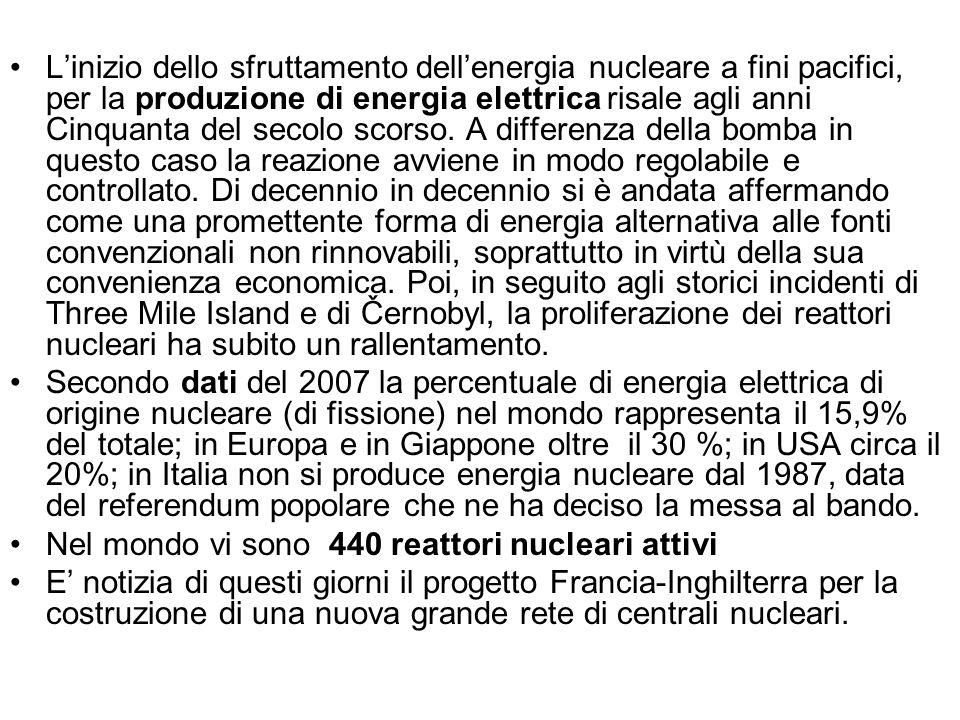 L'inizio dello sfruttamento dell'energia nucleare a fini pacifici, per la produzione di energia elettrica risale agli anni Cinquanta del secolo scorso. A differenza della bomba in questo caso la reazione avviene in modo regolabile e controllato. Di decennio in decennio si è andata affermando come una promettente forma di energia alternativa alle fonti convenzionali non rinnovabili, soprattutto in virtù della sua convenienza economica. Poi, in seguito agli storici incidenti di Three Mile Island e di Černobyl, la proliferazione dei reattori nucleari ha subito un rallentamento.