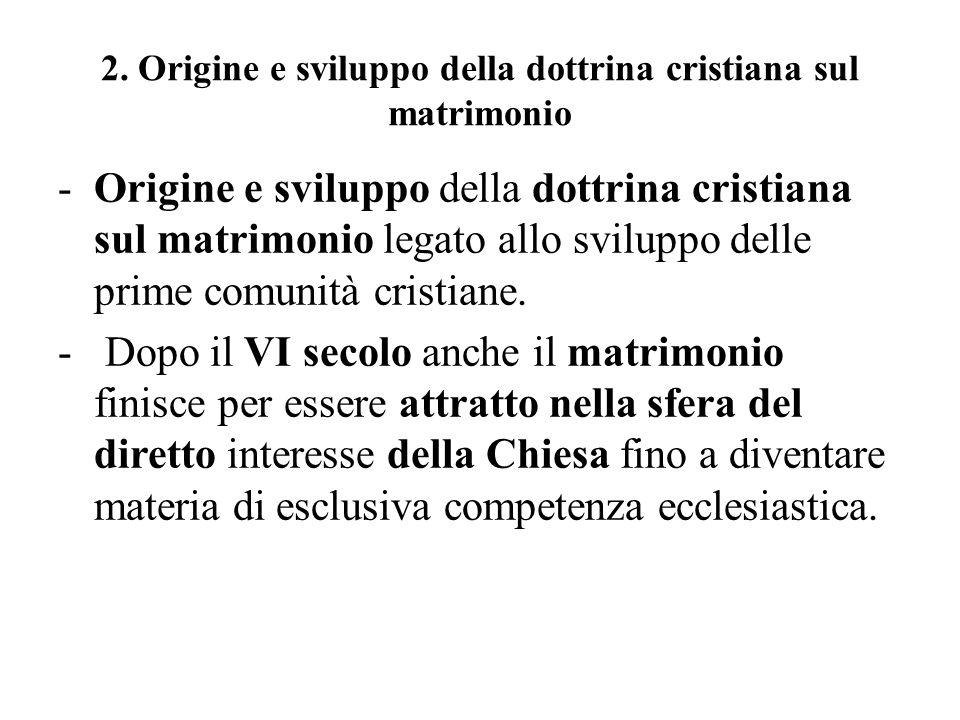 2. Origine e sviluppo della dottrina cristiana sul matrimonio