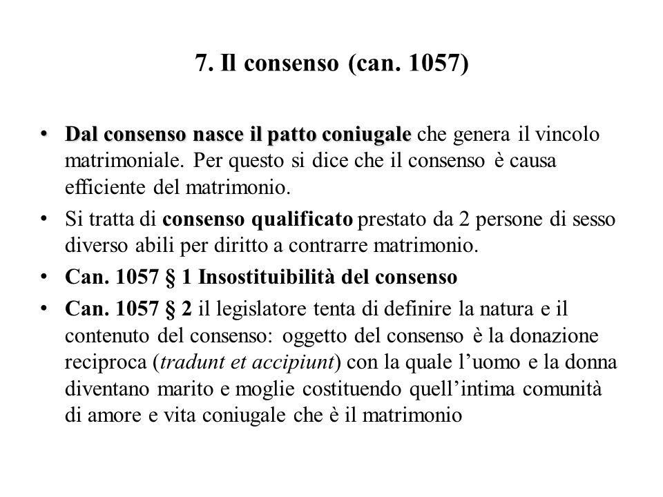 7. Il consenso (can. 1057)