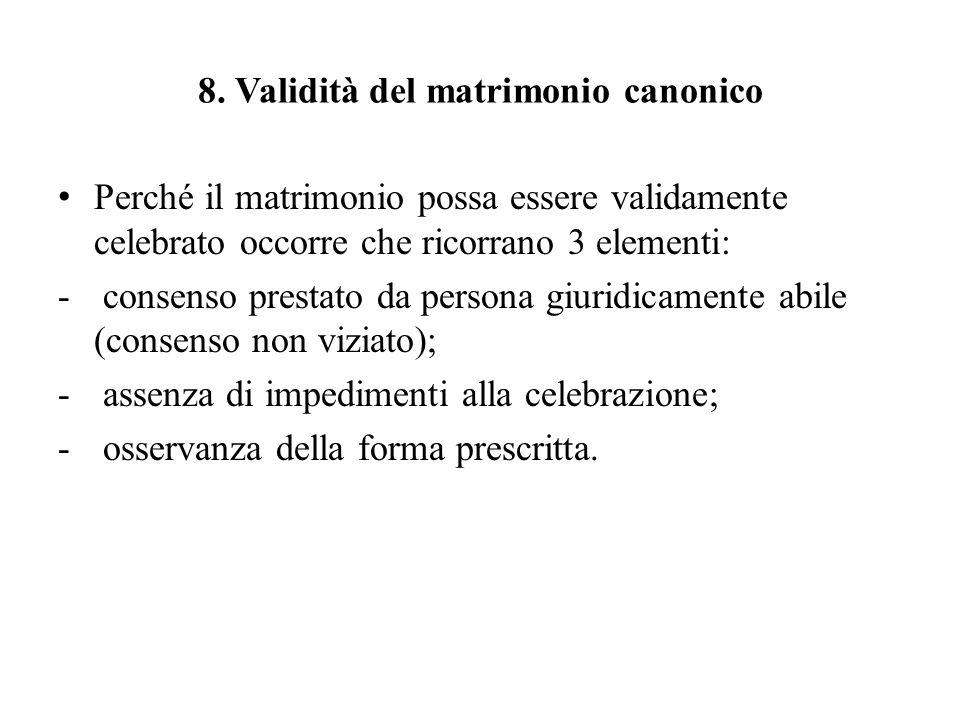 8. Validità del matrimonio canonico