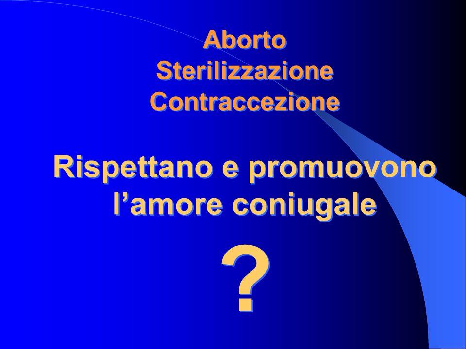 Aborto Sterilizzazione Contraccezione Rispettano e promuovono l'amore coniugale