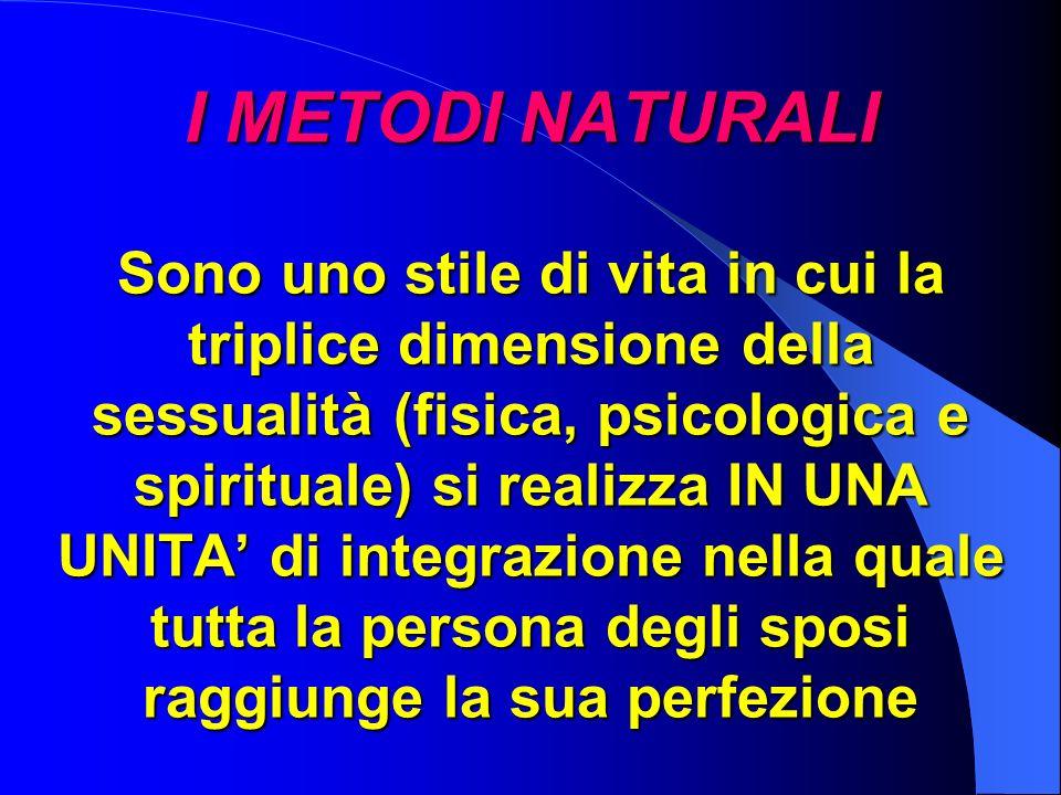 I METODI NATURALI Sono uno stile di vita in cui la triplice dimensione della sessualità (fisica, psicologica e spirituale) si realizza IN UNA UNITA' di integrazione nella quale tutta la persona degli sposi raggiunge la sua perfezione