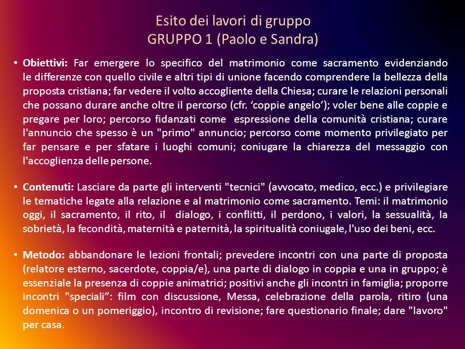 Esito dei lavori di gruppo GRUPPO 1 (Paolo e Sandra)