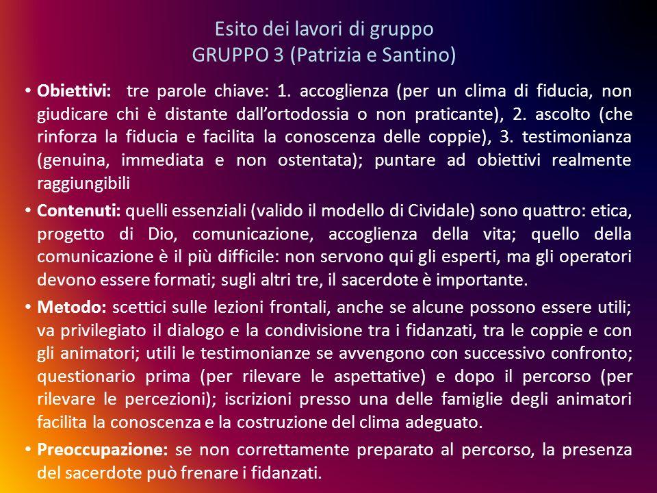 Esito dei lavori di gruppo GRUPPO 3 (Patrizia e Santino)