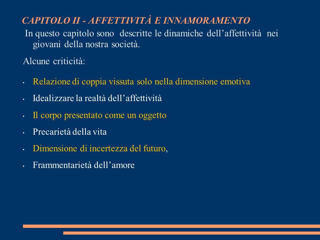 CAPITOLO II - AFFETTIVITÀ E INNAMORAMENTO