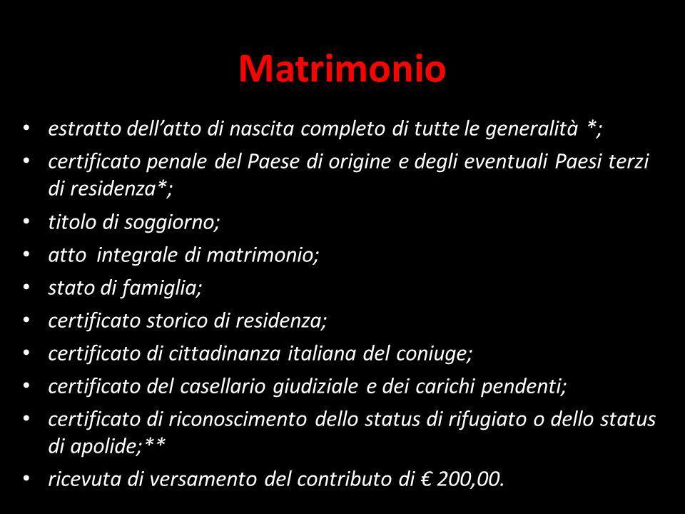 Matrimonio estratto dell'atto di nascita completo di tutte le generalità *;