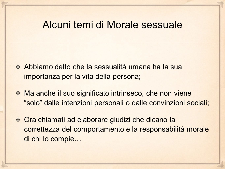 Alcuni temi di Morale sessuale