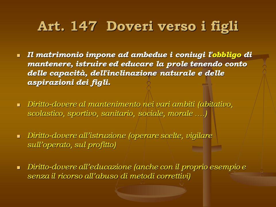 Art. 147 Doveri verso i figli