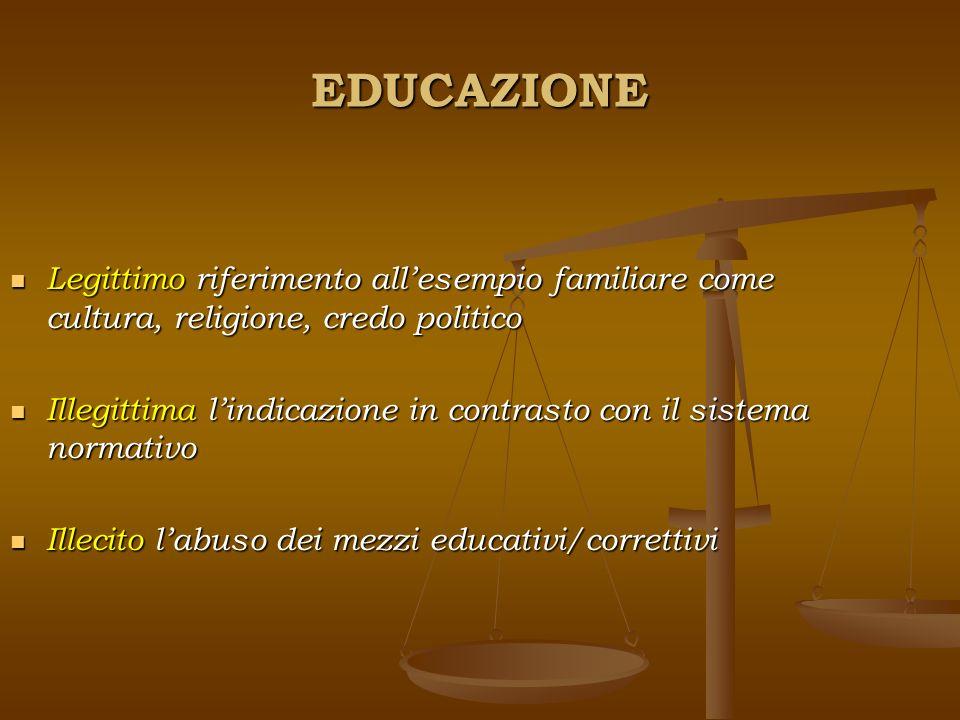 EDUCAZIONE Legittimo riferimento all'esempio familiare come cultura, religione, credo politico.