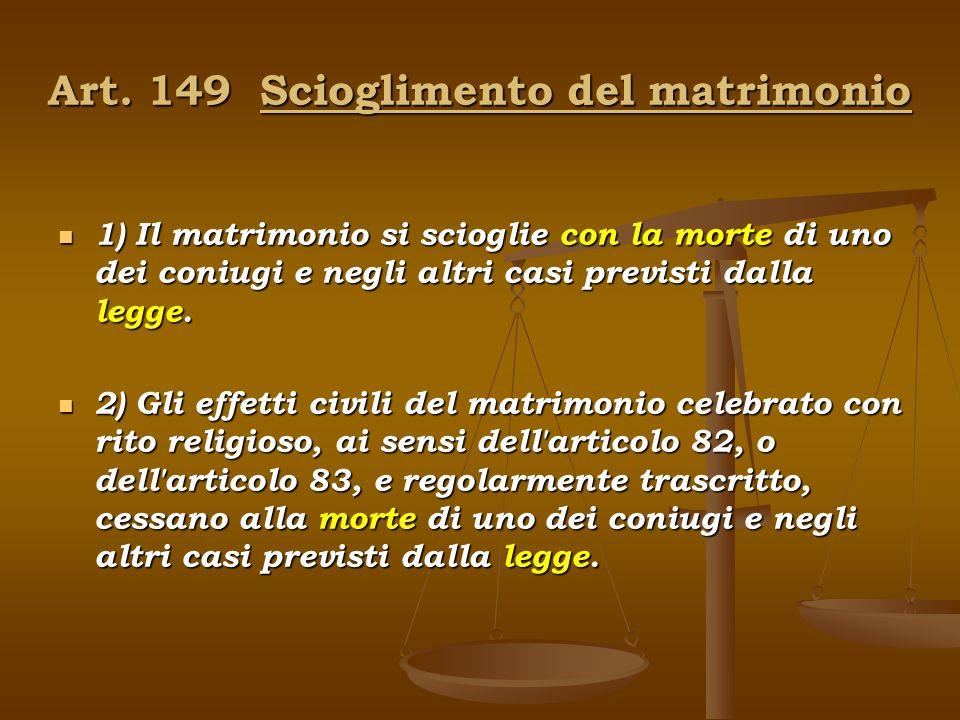 Art. 149 Scioglimento del matrimonio
