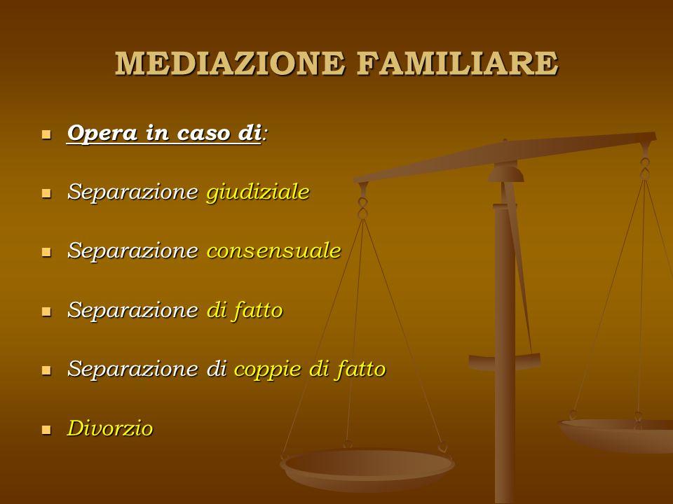 MEDIAZIONE FAMILIARE Opera in caso di: Separazione giudiziale