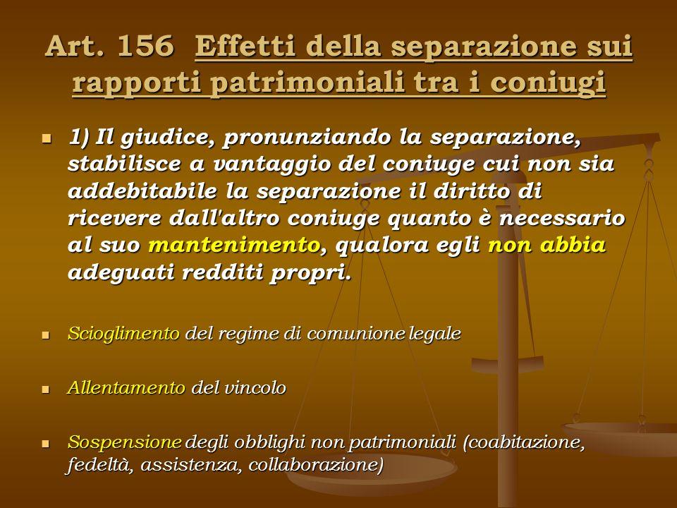 Art. 156 Effetti della separazione sui rapporti patrimoniali tra i coniugi