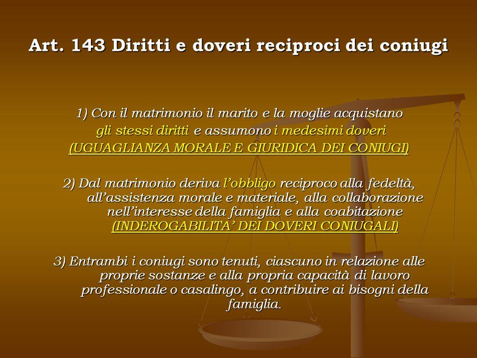 Art. 143 Diritti e doveri reciproci dei coniugi