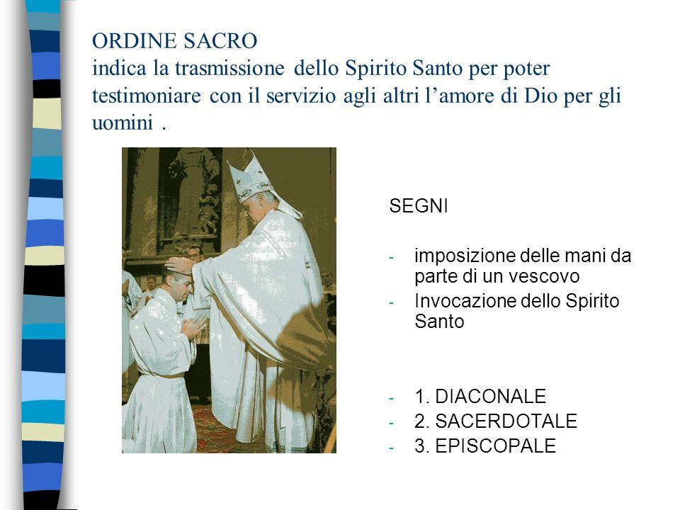 ORDINE SACRO indica la trasmissione dello Spirito Santo per poter testimoniare con il servizio agli altri l'amore di Dio per gli uomini .