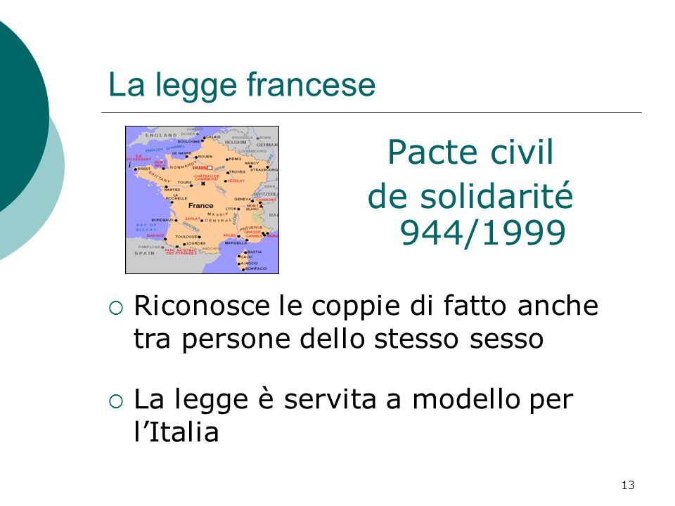 La legge francese Pacte civil de solidarité 944/1999