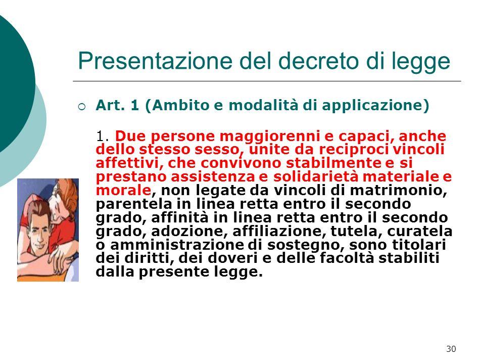 Presentazione del decreto di legge