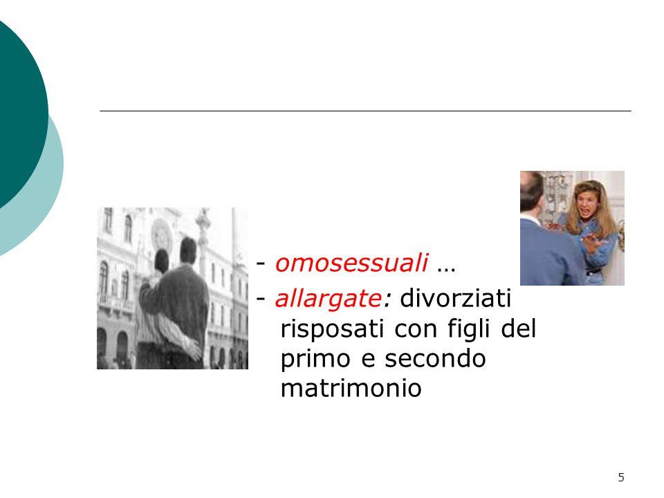 - omosessuali … - allargate: divorziati risposati con figli del primo e secondo matrimonio
