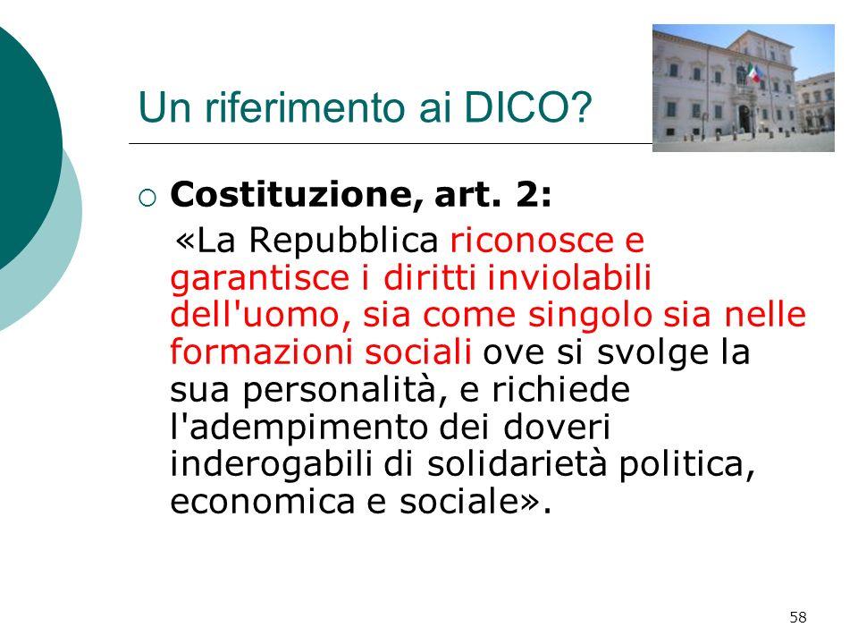 Un riferimento ai DICO Costituzione, art. 2: