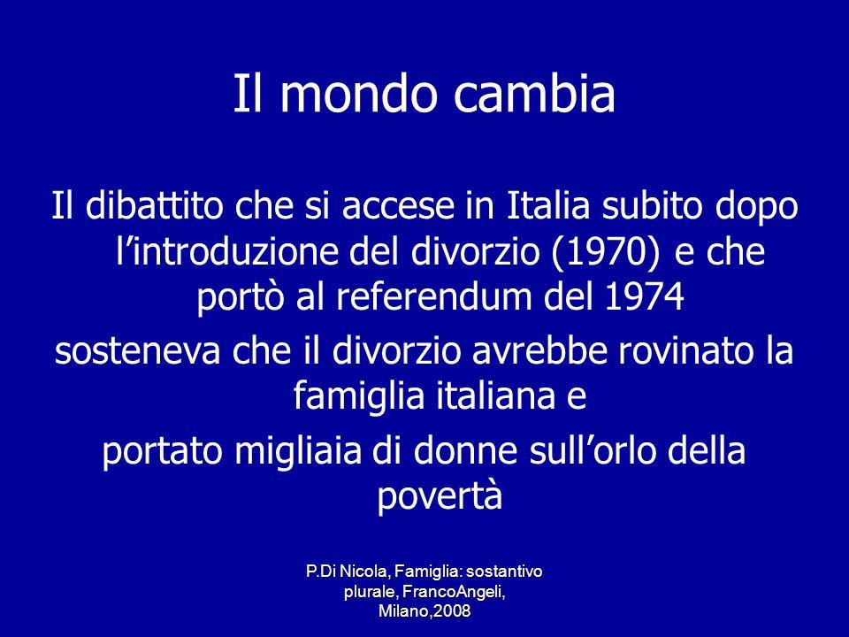 Il mondo cambia Il dibattito che si accese in Italia subito dopo l'introduzione del divorzio (1970) e che portò al referendum del 1974.