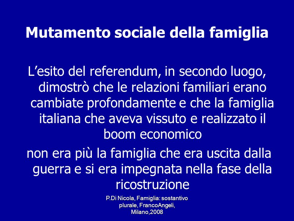 Mutamento sociale della famiglia