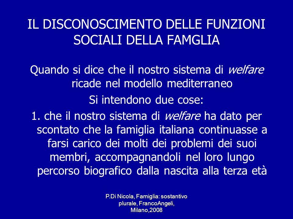 IL DISCONOSCIMENTO DELLE FUNZIONI SOCIALI DELLA FAMGLIA