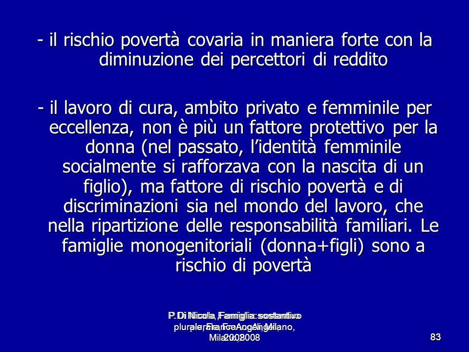 - il rischio povertà covaria in maniera forte con la diminuzione dei percettori di reddito
