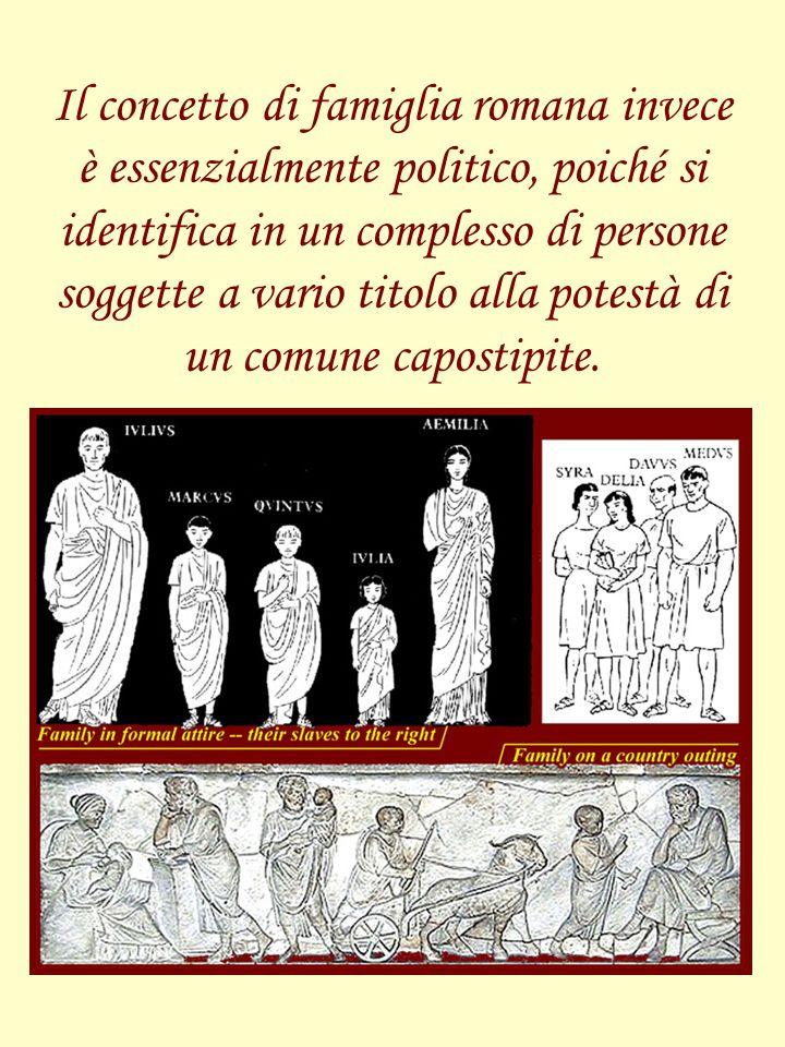 Il concetto di famiglia romana invece è essenzialmente politico, poiché si identifica in un complesso di persone soggette a vario titolo alla potestà di un comune capostipite.