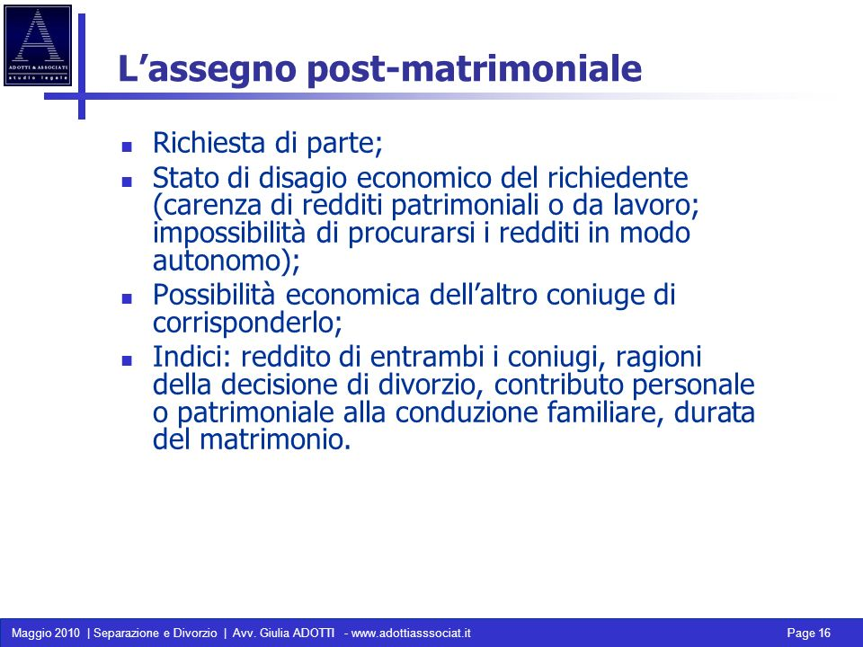 L'assegno post-matrimoniale