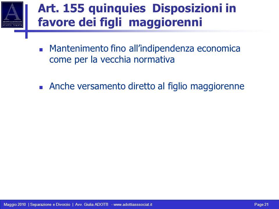 Art. 155 quinquies Disposizioni in favore dei figli maggiorenni