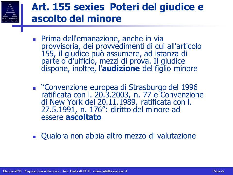 Art. 155 sexies Poteri del giudice e ascolto del minore
