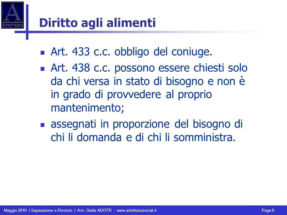 Diritto agli alimenti Art. 433 c.c. obbligo del coniuge.