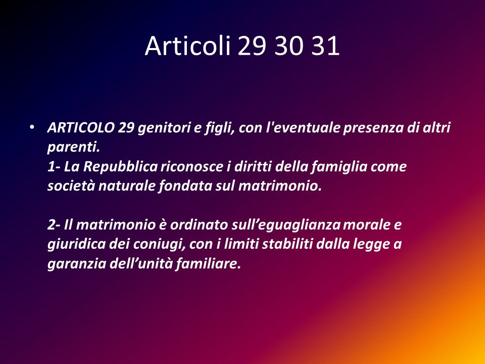 Articoli 29 30 31