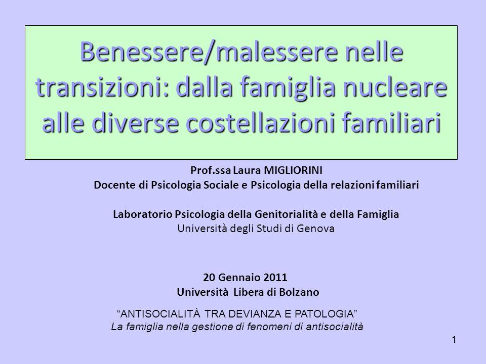 Benessere/malessere nelle transizioni: dalla famiglia nucleare alle diverse costellazioni familiari