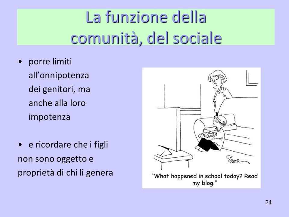 La funzione della comunità, del sociale
