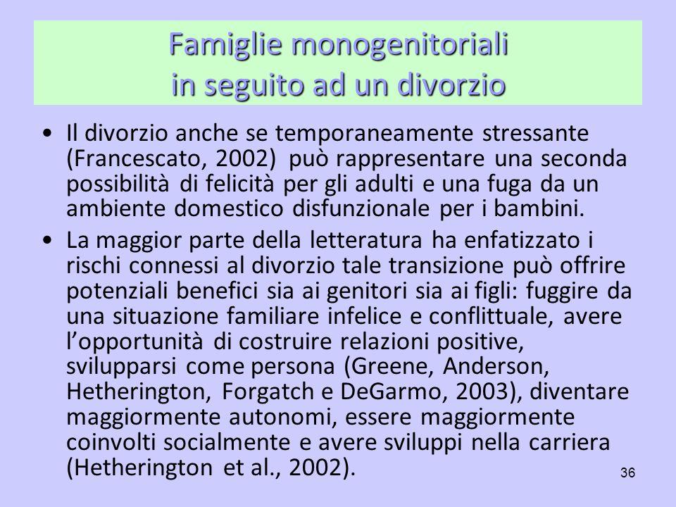 Famiglie monogenitoriali in seguito ad un divorzio