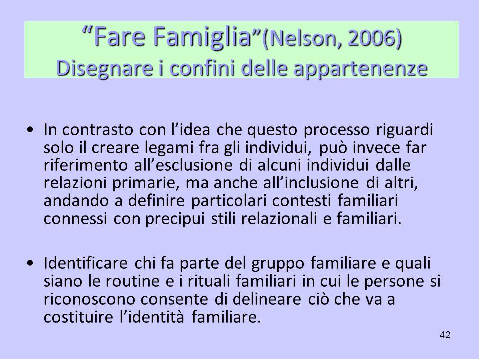 Fare Famiglia (Nelson, 2006) Disegnare i confini delle appartenenze