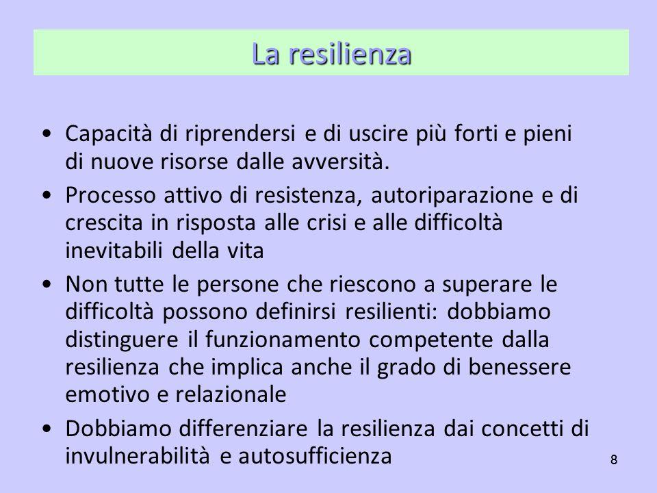 La resilienza Capacità di riprendersi e di uscire più forti e pieni di nuove risorse dalle avversità.