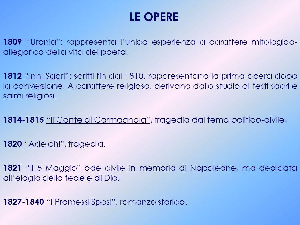 LE OPERE 1809 Urania : rappresenta l'unica esperienza a carattere mitologico-allegorico della vita del poeta.